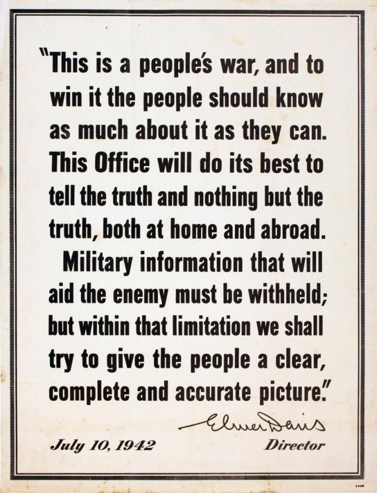 Elmer Davis War Quote - 1942
