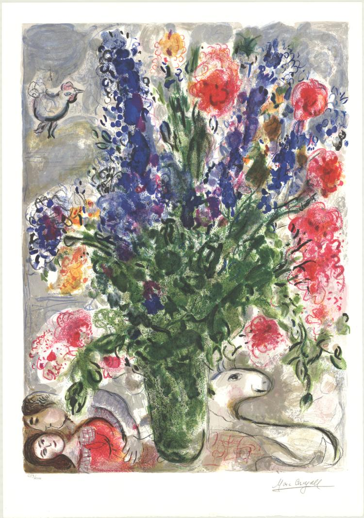 Marc Chagall - Les Lupins Bleus (after) - 1988