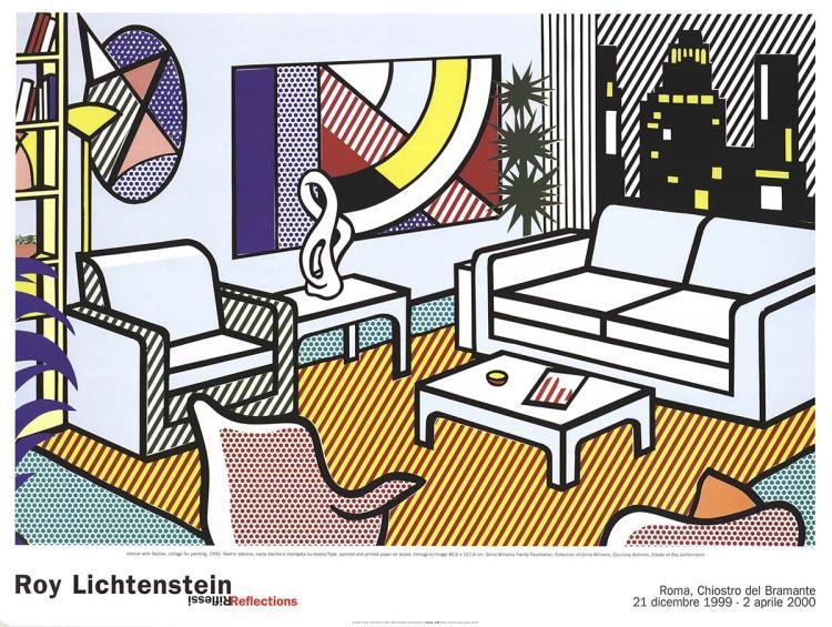 Roy Lichtenstein - Interior with Skyline, Collage for Painting - 2000
