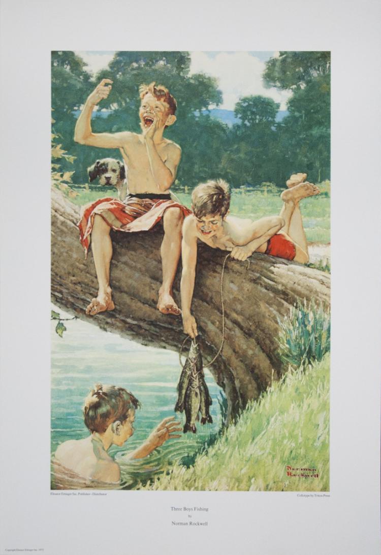 Norman Rockwell - Three Boys Fishing - 1975