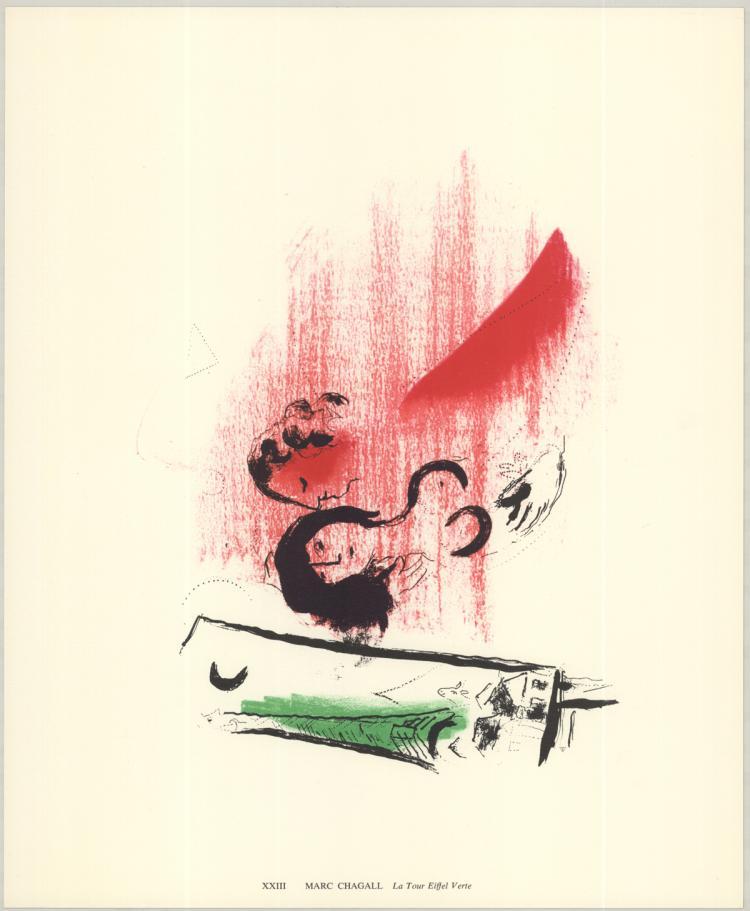 Marc Chagall - La Tour Eiffel Verte - 1974