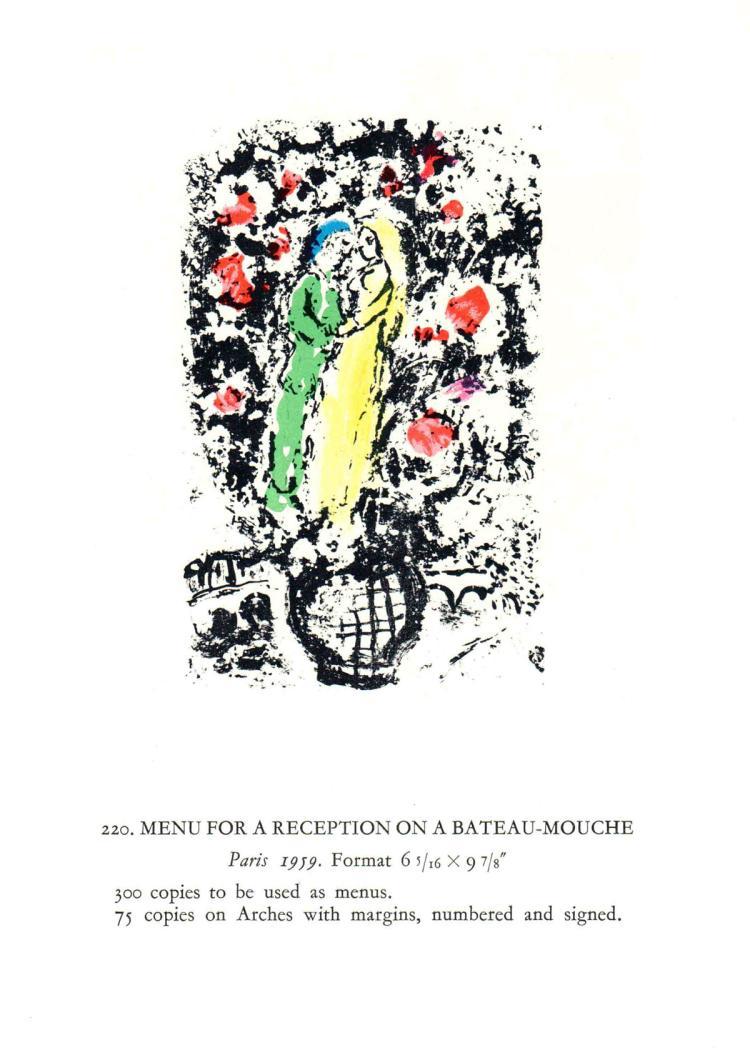 Marc Chagall - Menu Pour Reception sur le Bateau-Mouche - 1963