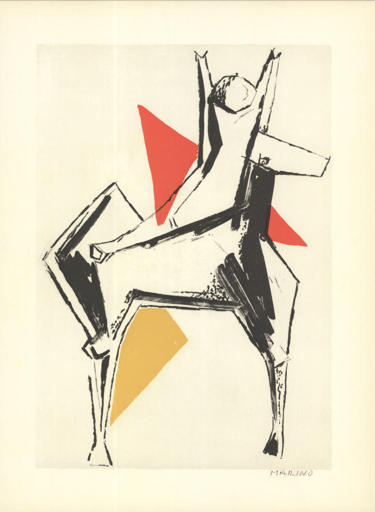 Marino Marini - Le Cavalier sur un fond gris - 1959