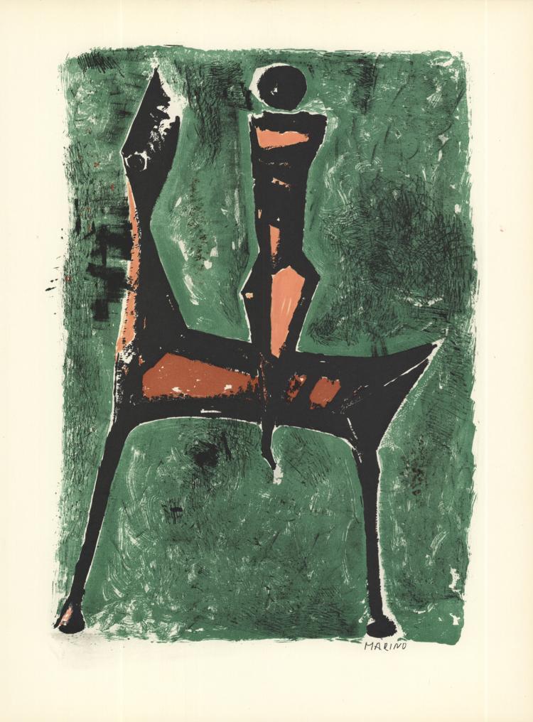 Marino Marini - Cavalier Fond Vert - 1959