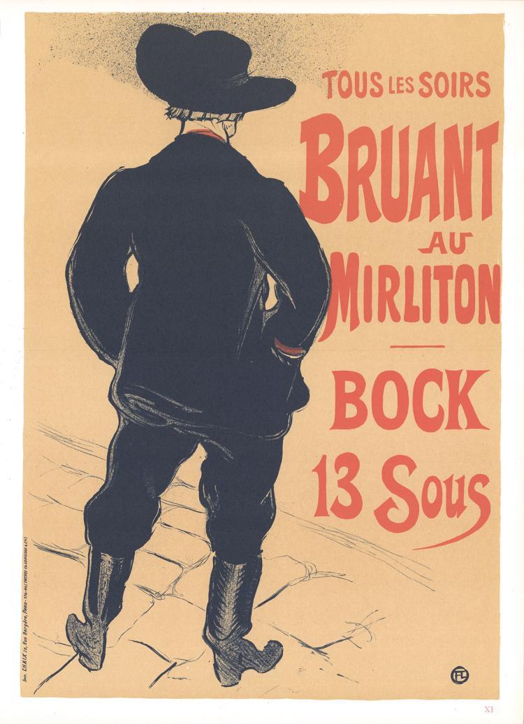 Henri de Toulouse-Lautrec - Tous les Soirs Bruant au Mirliton Bock 13 Sous - 1966