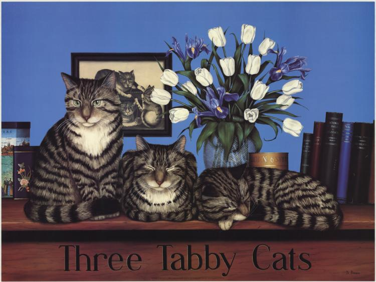 Susan Powers - Three Tabby Cats - 1986