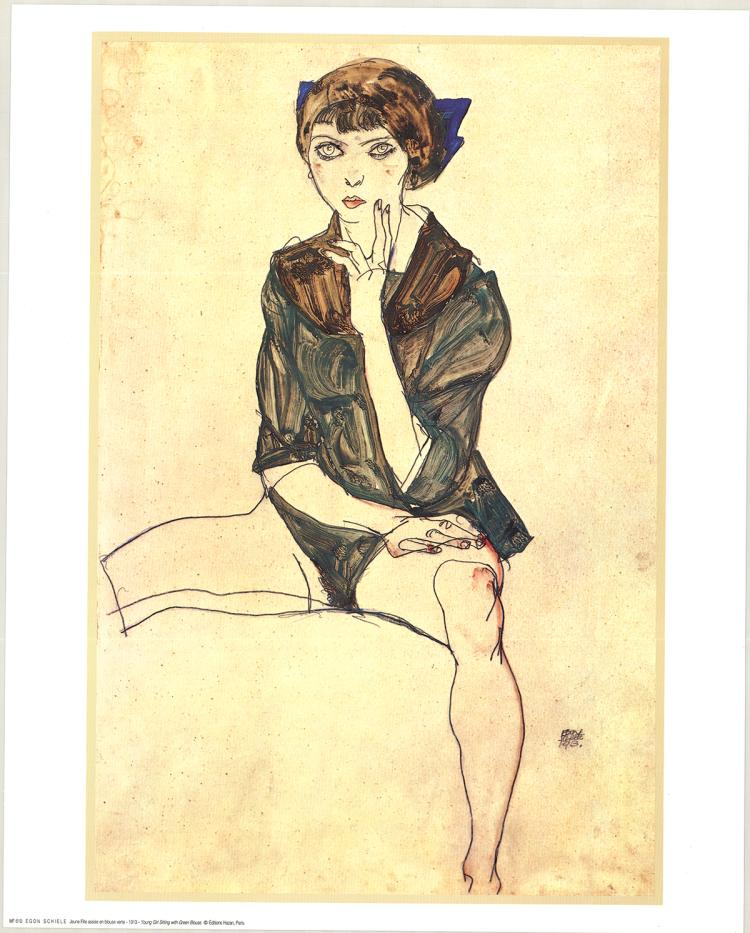 Egon Schiele - Young Girl Sitting with Green Blouse - 1968
