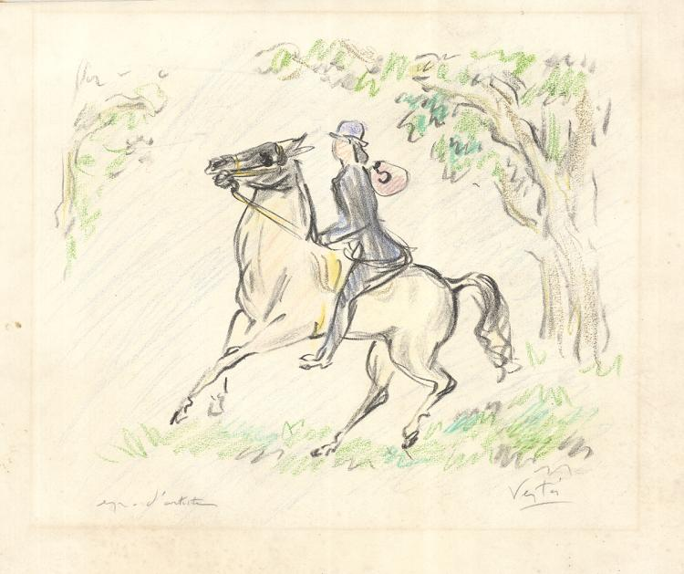 Marcel Vertes - La Course Equestre - SIGNED