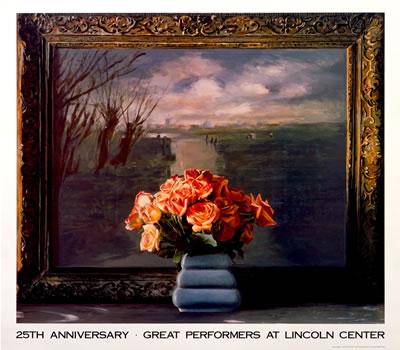 Ben Schonzeit - Roses with Dutch Landscape - 1990