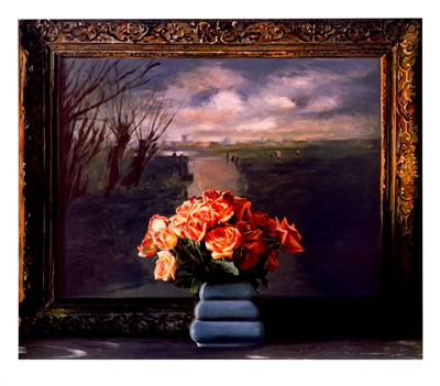 Ben Schonzeit - Roses with Dutch landscape - 1990 - SIGNED