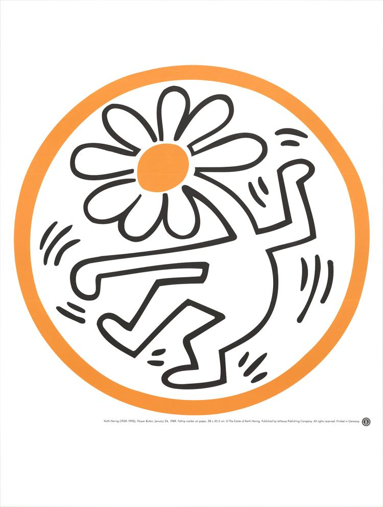 Keith Haring - Flower Button (January 24, 1989)