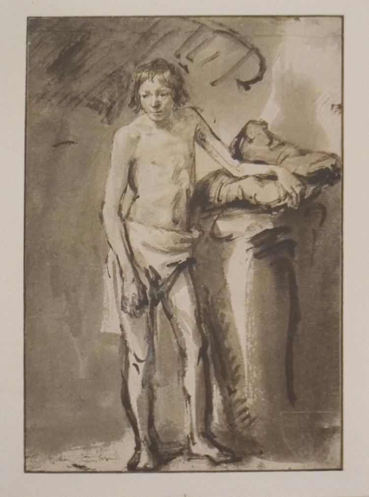 van Rijn Rembrandt - Life Study of a young man standing