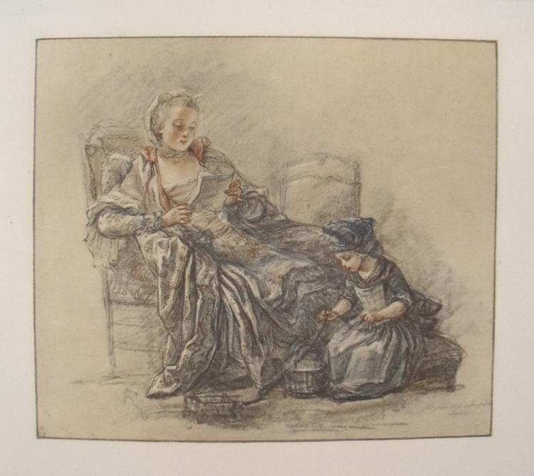 Jean Baptiste Chardin - Lady Reading With a Child - 1930