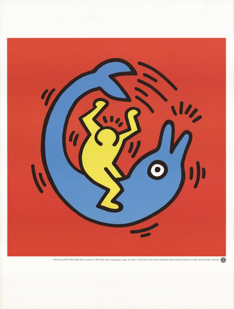 Keith Haring - Dolphin Button