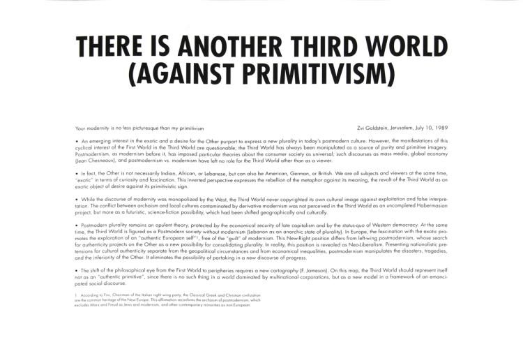 Zvi Goldstein - There is Another Third World (Against Primitivism)