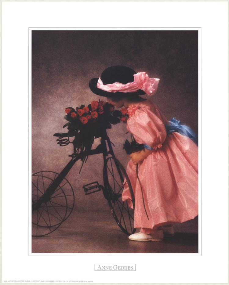 Anne Geddes - Justine Smelling Roses on Bike - 1994