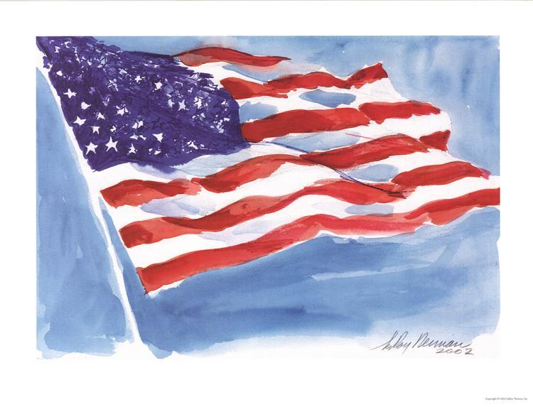 Leroy Neiman - American Flag - 2002