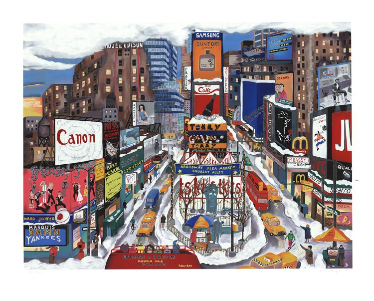 Linnea Pergola - Times Square in the Snow - 1995 - SIGNED