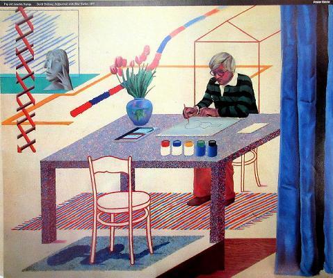 David Hockney - Self Portrait With Blue Guitar - 1977