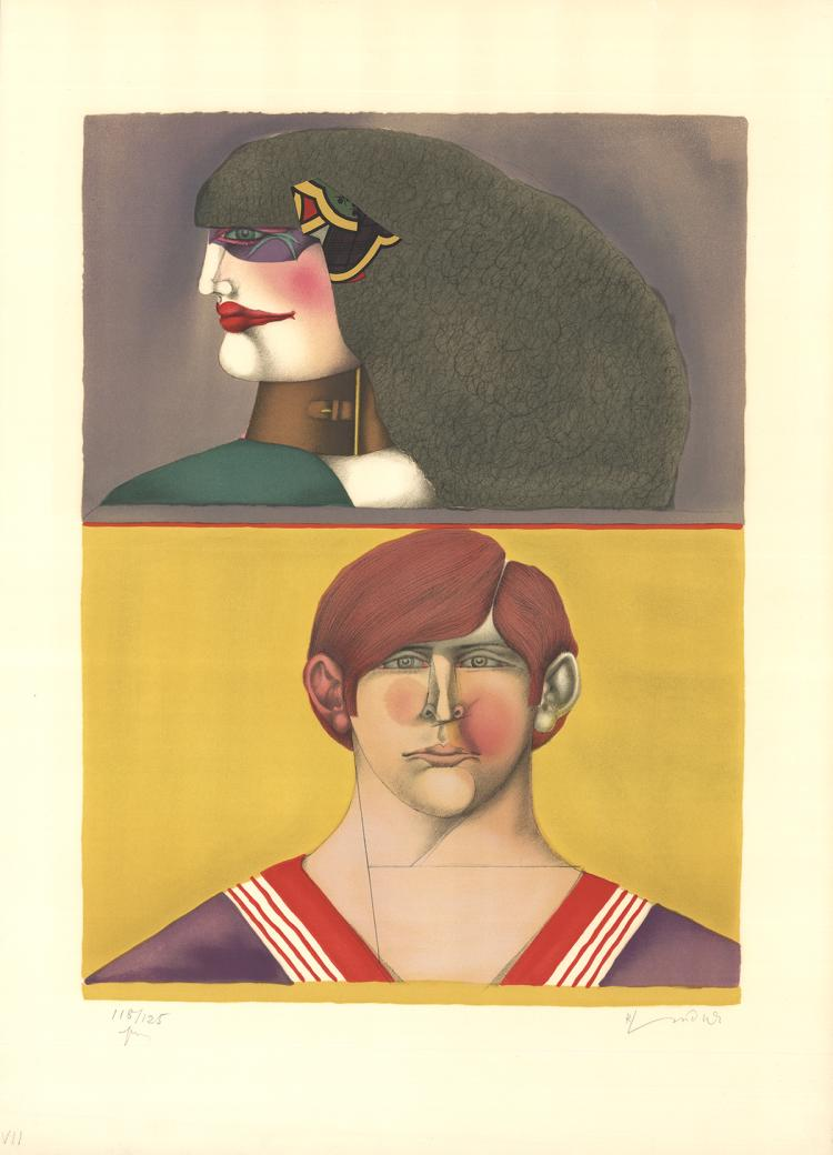 Richard Lindner - Face and Profile - SIGNED