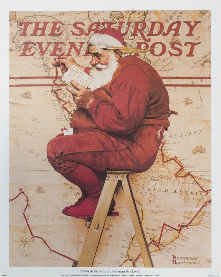 Norman Rockwell - Santa at the Map - 1992