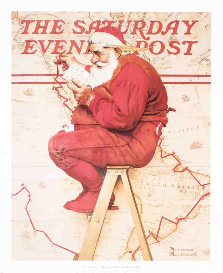 Norman Rockwell - Santa at the Map - 1996