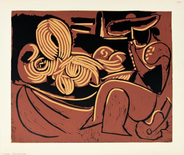 Pablo Picasso - Femme couchee et Homme a la Guitare - 1962