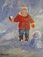 MARJORIE WILSON  'My First Snowman' oil on board, Marjorie Wilson, Click for value