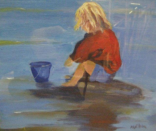 MARJORIE WILSON  'My Blue Bucket'   oil on board