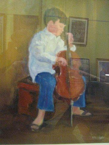 MARJORIE WILSON  'On the Cello' oil on board
