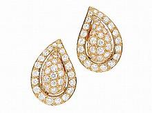 A Pair of Diamond and Gold Ear Clips, Cartier, circa 1990