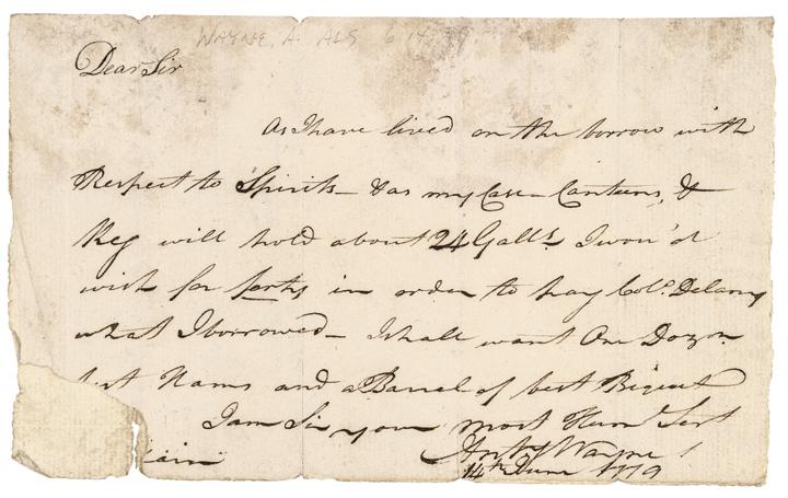 1779 Revolutionary War Brigadier General ANTHONY WAYNE Autog