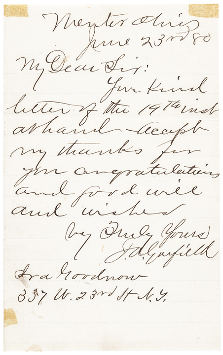 June 23 1880 JAMES A GARFIELD Nomination For President Aut