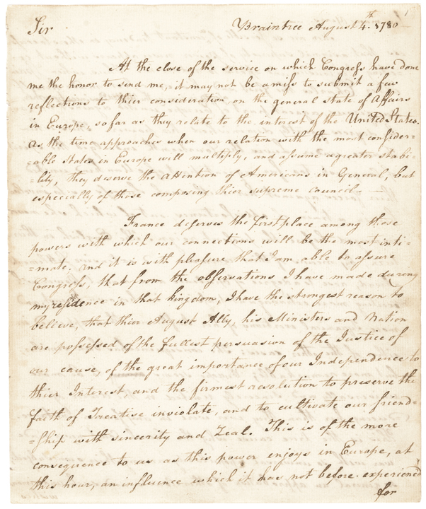 (JOHN ADAMS) Secretarial 1780 Contemporary Copy 22 Page Letter to John Jay