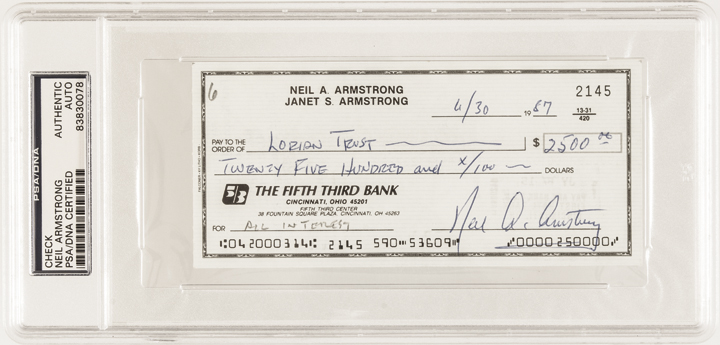 Rare Personal Check Boldly Signed NEIL A. ARMSTRONG 1987 PSA/DNA Certified