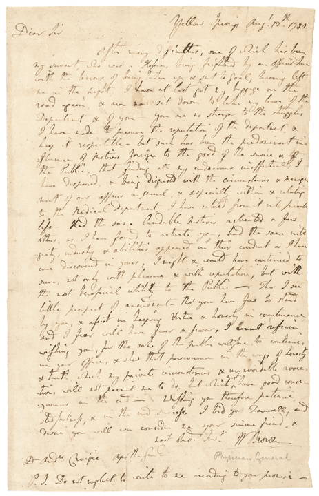 August 12, 1780 Revolutionary War Period Autograph Letter Signed WILLIAM BROWN