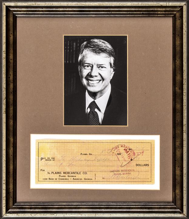 JAMES EARL JIMMY CARTER Signed Check, Display Framed