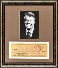 JAMES EARL JIMMY CARTER Signed Check, Display Framed