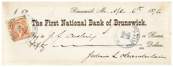 1876 Hero of Gettysburg GENERAL JOSHUA LAWRENCE CHAMBERLAIN Signed Check