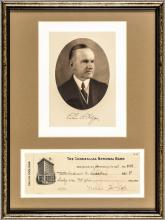 CALVIN COOLIDGE Signed Check as President with Print, Display Framed