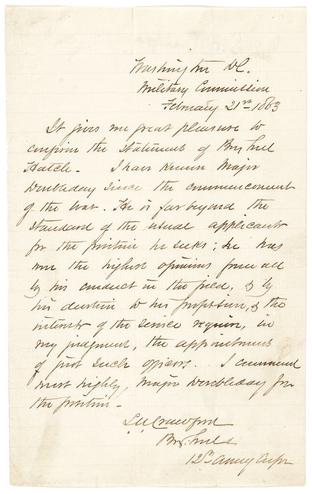 1863 General SAMUEL W. CRAWFORD Recommends Promotion of Major ABNER DOUBLEDAY !
