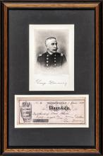 1893 GEORGE DEWEY Signed Check with Engraved Print Display Framed