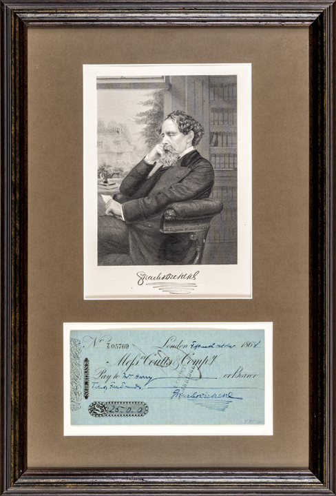 CHARLES DICKENS Signed Check with Engraved Print Display Framed