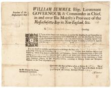 1729 Province of Massachusetts Bay Military Appointment Signed William Dummer