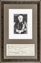 1928 THOMAS ALVA EDISON Signed Business Check Professionally Framed Display