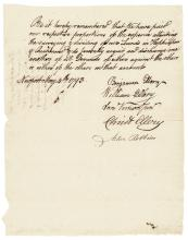WILLIAM ELLERY, 1793 Autograph Document, Signer - Declaration of Independence