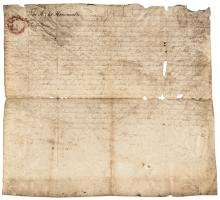1754 Thomas, Lord Fairfax Signed Land Grant Mentions Survey by George Washington