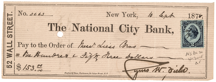 Gorgeous 1878 CYRUS W. FIELD Signed Check With Bold Signature