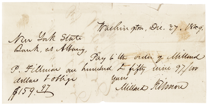 Exceedingly Rare 1849 MILLARD FILLMORE Signed Check to His Son, M. P. FILLMORE