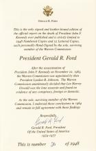GERALD R. FORD Signed Warren Commission Report Limited Edition Book